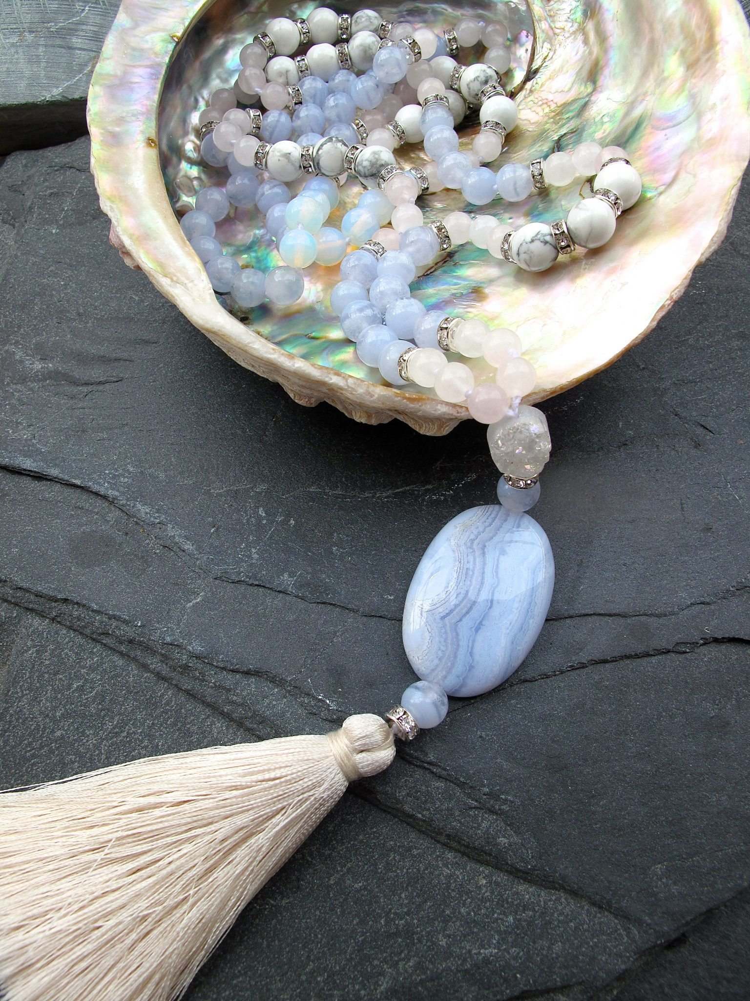 Blue lace agate mala necklace with semi precious stones