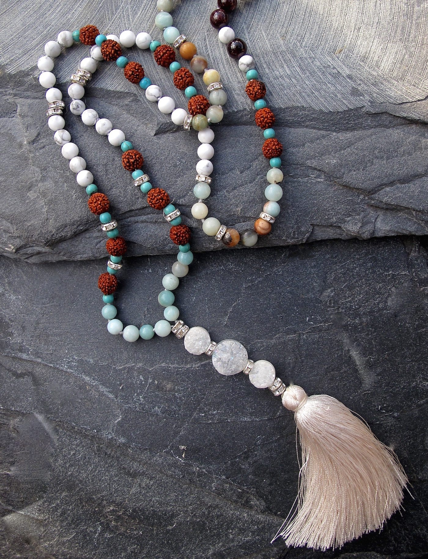 mala necklace, semi precious stones
