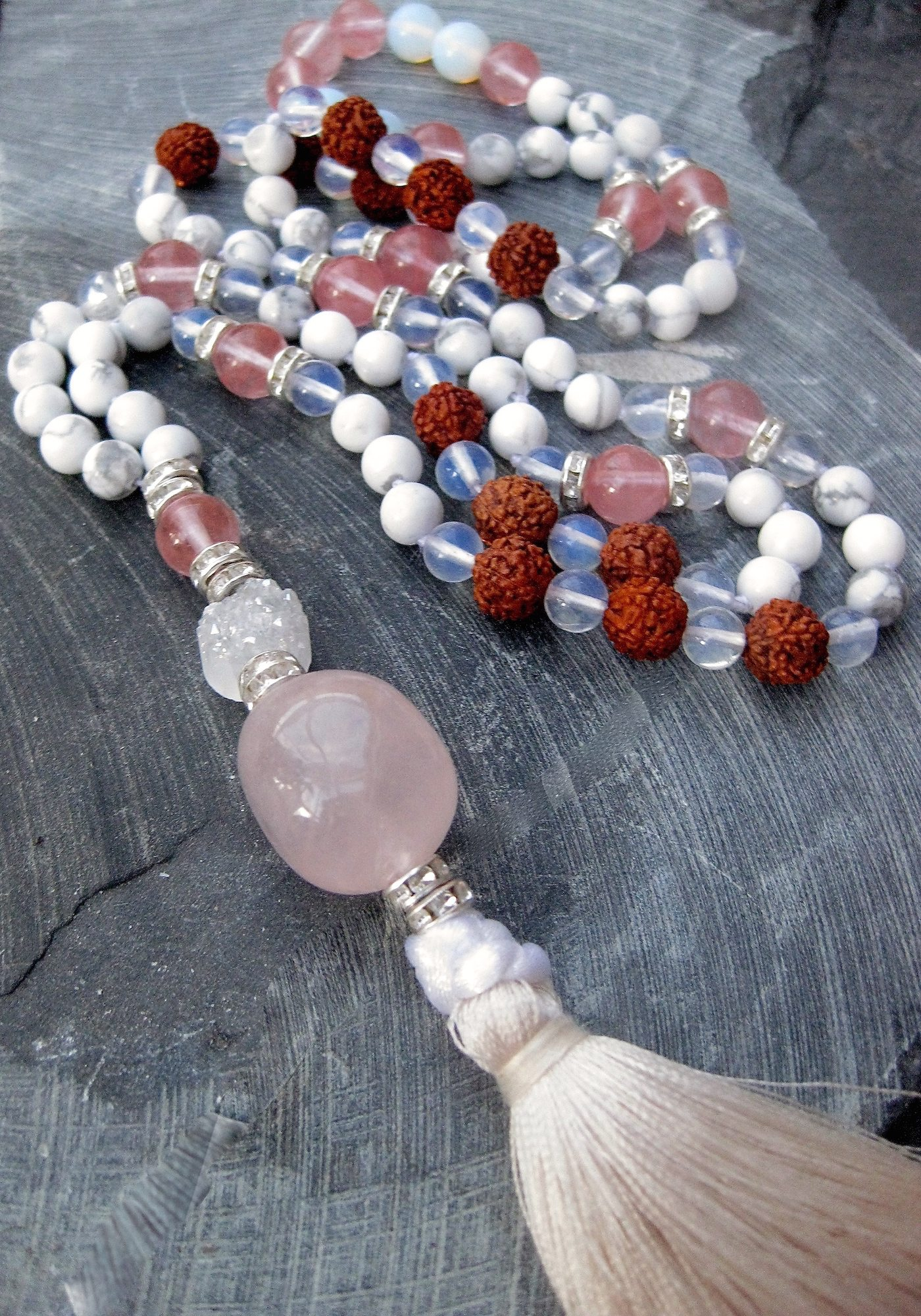 Rose quartz, clear quartz, rudraksha beads, moonstones mala necklace, crystal diamante spacers