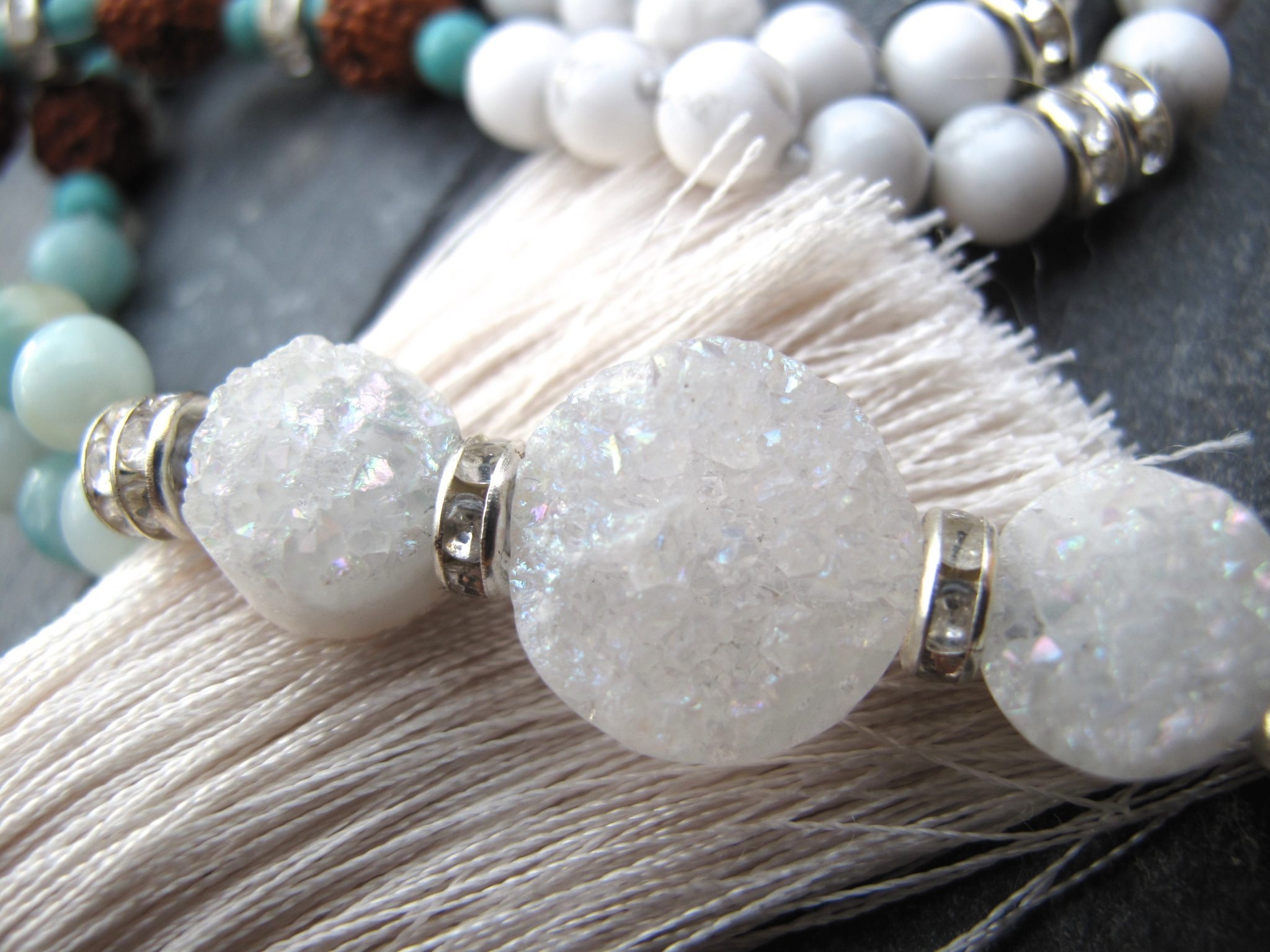 crystal druzy coin for mala
