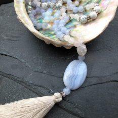 blue lace agate mala necklace